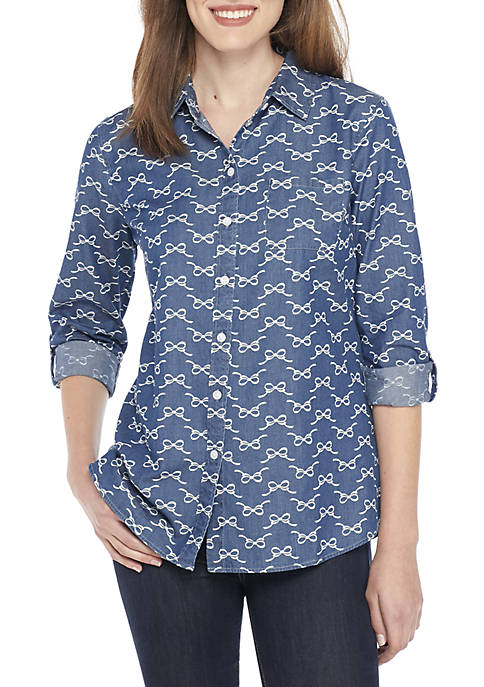 Kim Rogers® Roll Sleeve Chambray Top