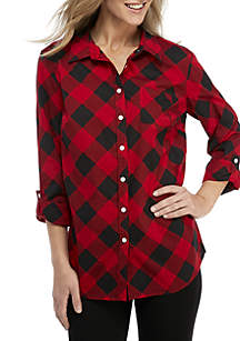 Roll-Tab Sleeve Plaid Cambric Top