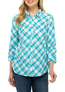 Kim Rogers® Cambric Button Down Print Top