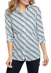 Kim Rogers® Long Roll-Tab Sleeve Print Top