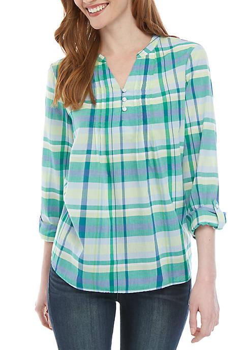 Kim Rogers® 3/4 Sleeve Pintuck Henley Plaid Top