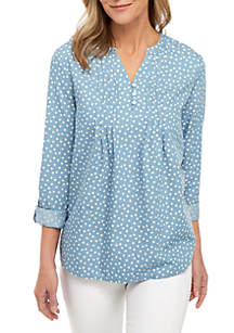 5a416a02ec9 Kim Rogers® No Iron Button Down Knit Top · Kim Rogers® 3 4 Sleeve Pin Tuck  Henley Print Top