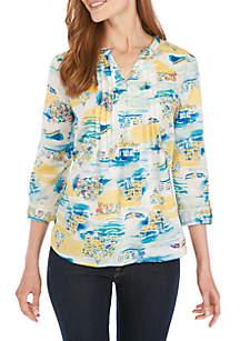 Kim Rogers® 3/4 Roll Tab Sleeve Pintuck Henley Neck Top