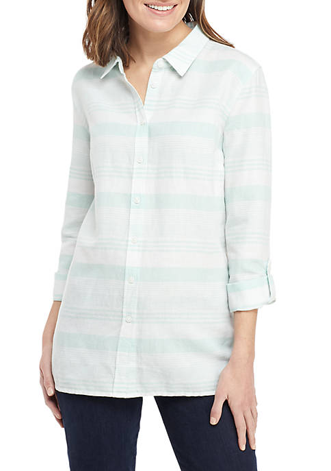 Kim Rogers® Long Roll-Tab Sleeve Linen Button Down