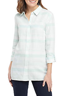 Kim Rogers® Long Roll-Tab Sleeve Linen Button Down Top