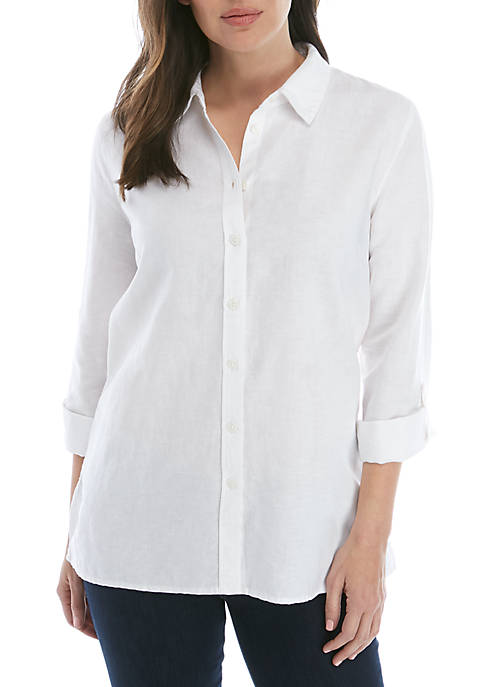 Kim Rogers® Roll Tab Sleeve Linen Button Shirt