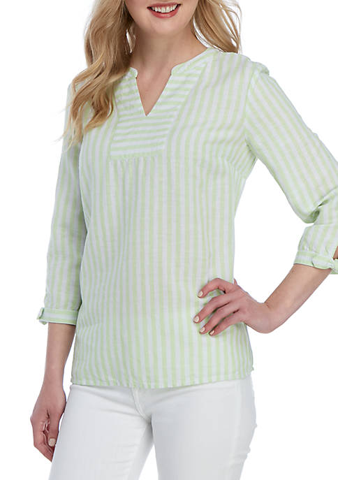 Kim Rogers® 3/4 Tie Sleeve Striped Top