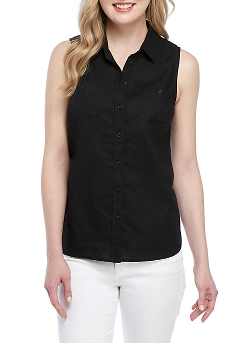 Kim Rogers® Sleeveless Pocket Button Front Top