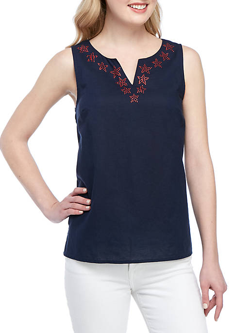 Kim Rogers® Sleeveless Split Neck Embroidered Top