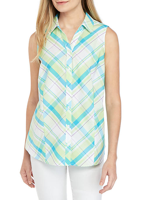 Sleeveless Easy Care Plaid Top