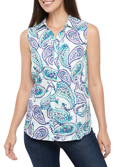 Kim Rogers® Sleeveless Easy Care Print Top