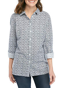 Kim Rogers® Roll Tab Sleeve Button Front Printed Top
