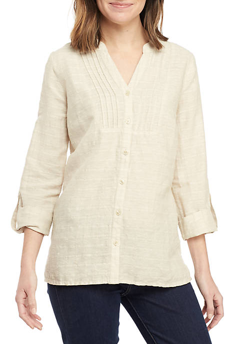 Kim Rogers® Long Roll-Tab Sleeve Linen Pintuck Top