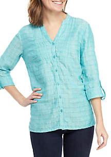 Kim Rogers® Long Roll-Tab Sleeve Linen Pintuck Top