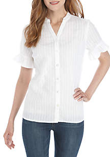 Kim Rogers® Short Ruffle Sleeve Button Front Top