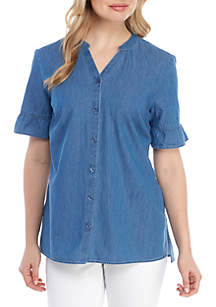 Kim Rogers® Ruffle Sleeve Button Front Chambray Top