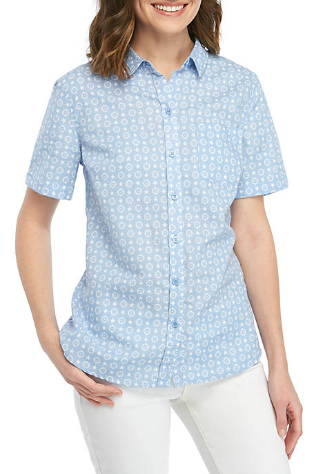 Kim Rogers® Short Sleeve Printed Camp Shirt