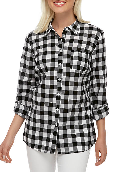 Kim Rogers® Roll Tab Cambric Shirt