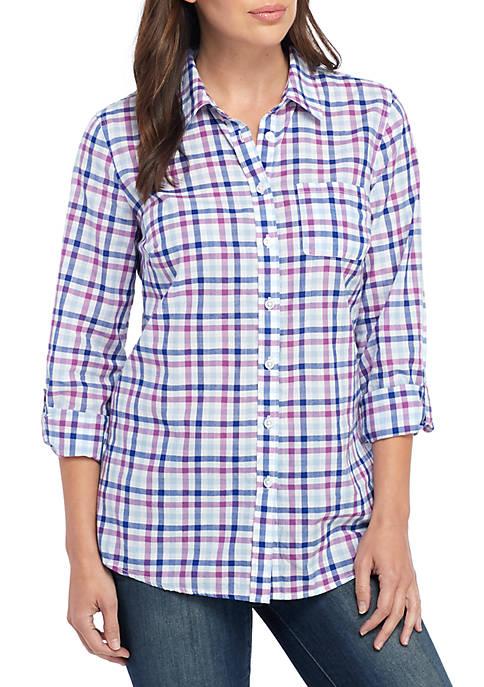 Kim Rogers® Womens Roll Tab Cambric Printed Shirt