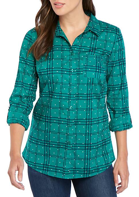 Kim Rogers® Roll Tab Cambric Print Shirt