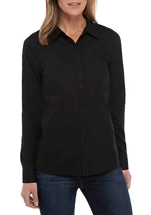 Kim Rogers® Womens Long Sleeve Easy Care Solid