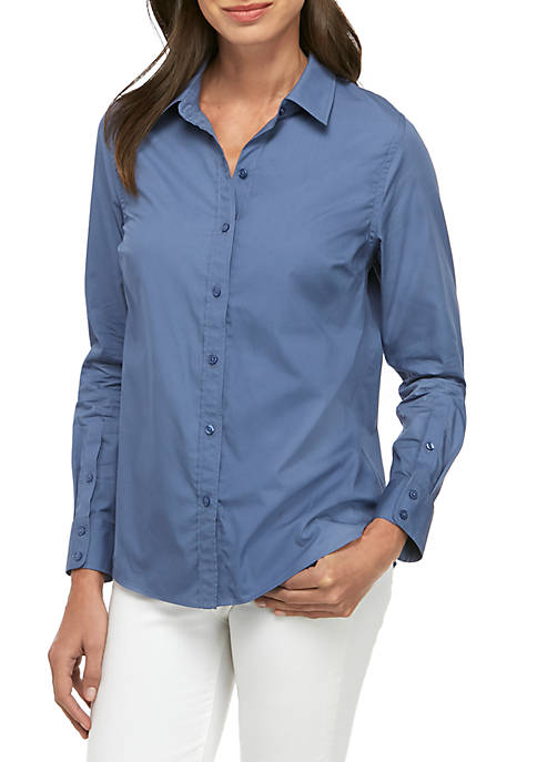 Womens Long Sleeve Easy Care Solid Button Down Top