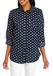Roll Tab Cambric Dot Shirt