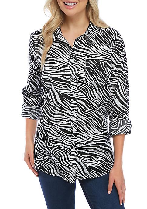 Kim Rogers® Roll Tab Zebra Print Top