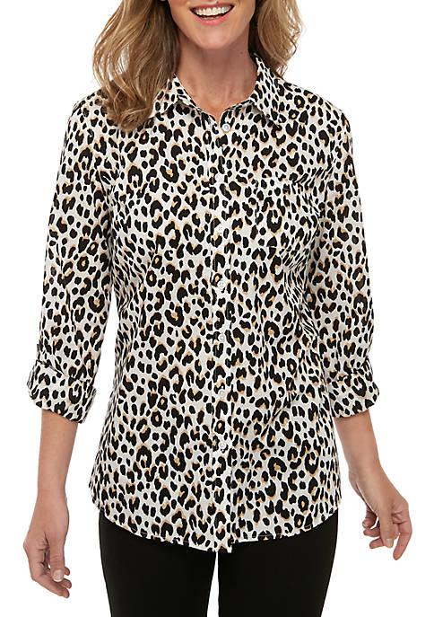 Roll-Tab Sleeve Cheetah Print Top
