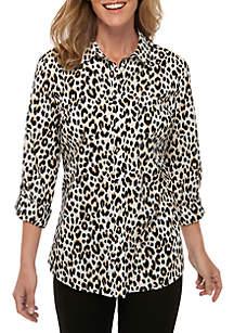Kim Rogers® Roll-Tab Sleeve Cheetah Print Top