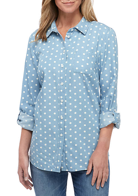 Kim Rogers® Roll Tab Sleeve Chambray Button Down