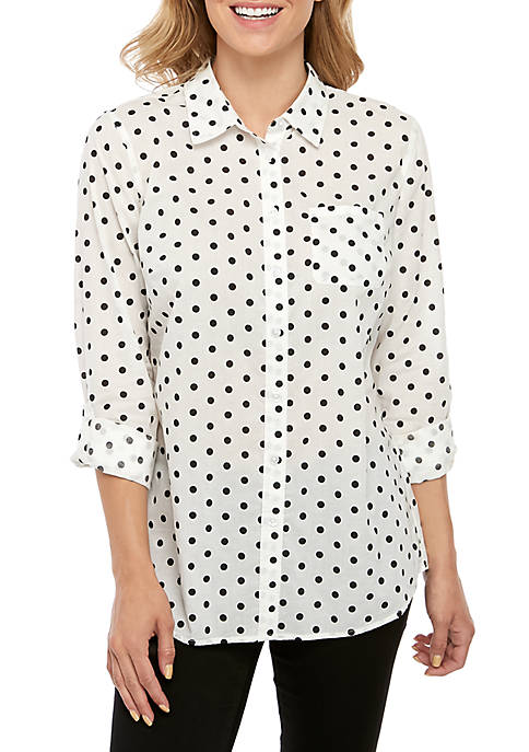 Kim Rogers® Roll Tab Cambric Print Top