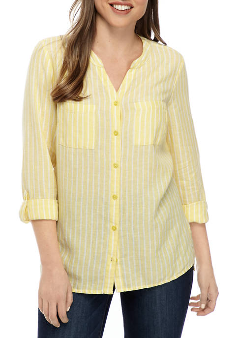 Kim Rogers® Womens High Low Button Down Top