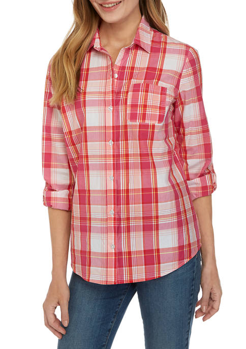 Kim Rogers® Womens Roll Tab Cambric Print Shirt