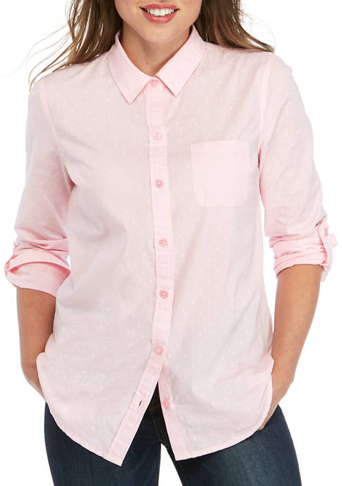 Kim Rogers® Womens Roll Tab Clip Jacquard Shirt