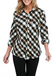 Womens Roll Tab Flannel Shirt