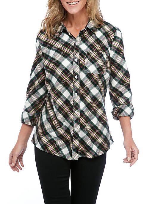 Kim Rogers® Womens Roll Tab Flannel Shirt
