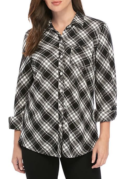 Kim Rogers® Roll Tab Flannel Shirt