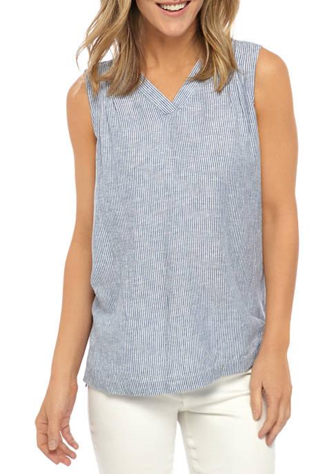 Kim Rogers® Womens Sleeveless Yarn Dyed V Neck