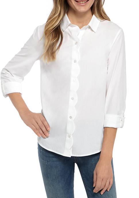 Kim Rogers® Womens 3/4 Sleeve Scallop Placket Shirt