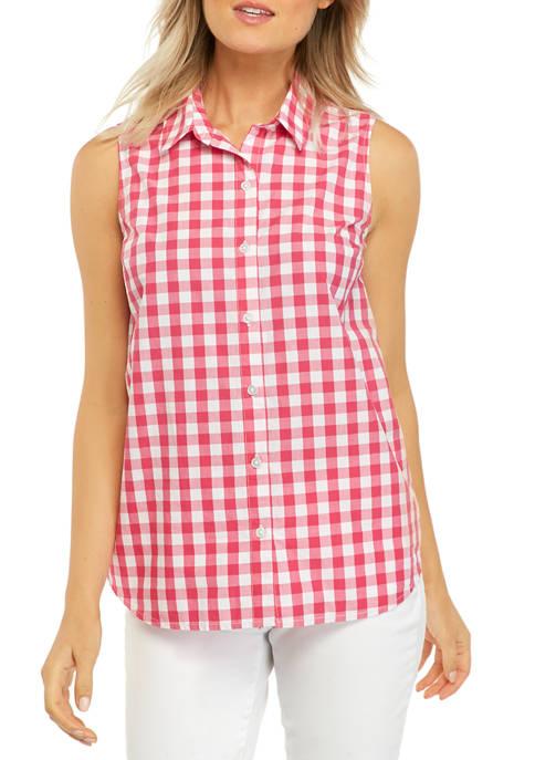 Kim Rogers® Womens Sleeveless Button Down Shirt
