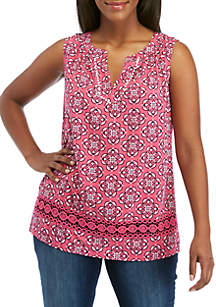 5b236565485 ... Crown   Ivy™ Plus Size Crochet Trim Peasant Print Top