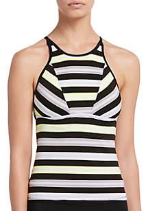 Nike® Sport Stripe High Neck Swim Tankini