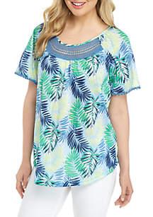 fe5036b2430e ... Kim Rogers® Short Sleeve Crinkle Knit Printed Top