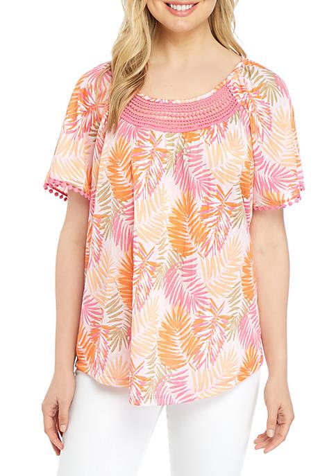 Kim Rogers® Short Sleeve Crinkle Knit Printed Top