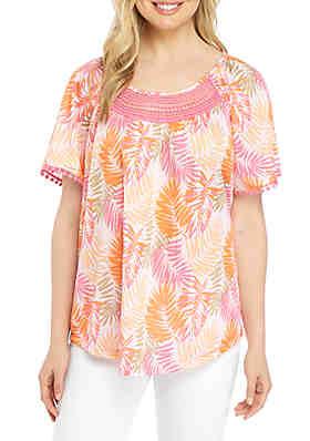 443173be1c0 Kim Rogers® Short Sleeve Crinkle Knit Printed Top ...