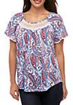 Petite Crinkle Knit Printed Top