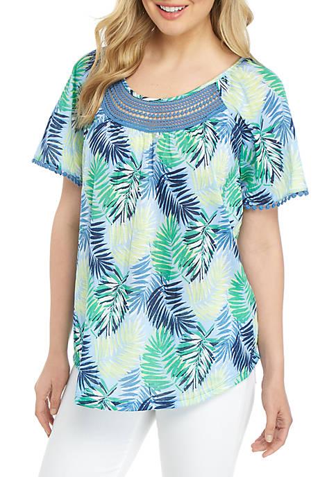 Kim Rogers® Petite Crinkle Knit Printed Top