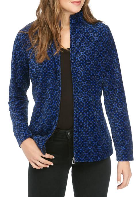 Kim Rogers® Petite Velour Lace Tile Printed Jacket