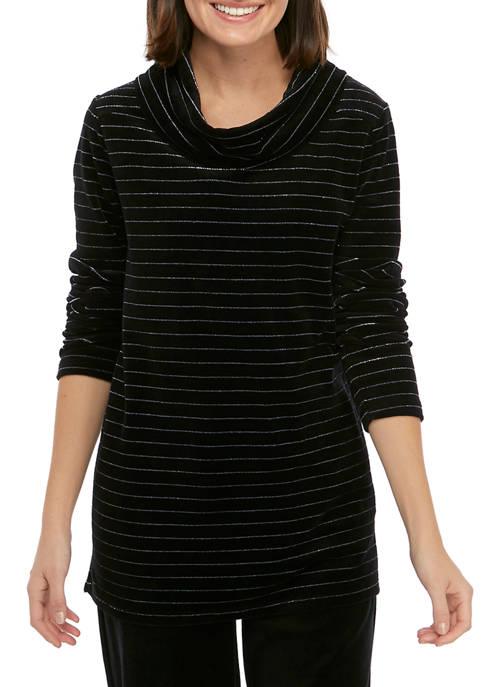 Petite Velour Cowl Neck Shirt